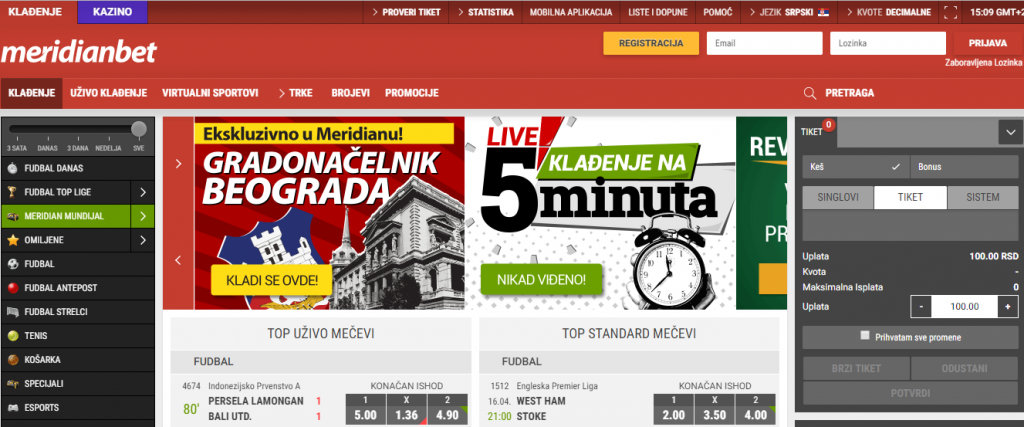 meridianbet website screenshot