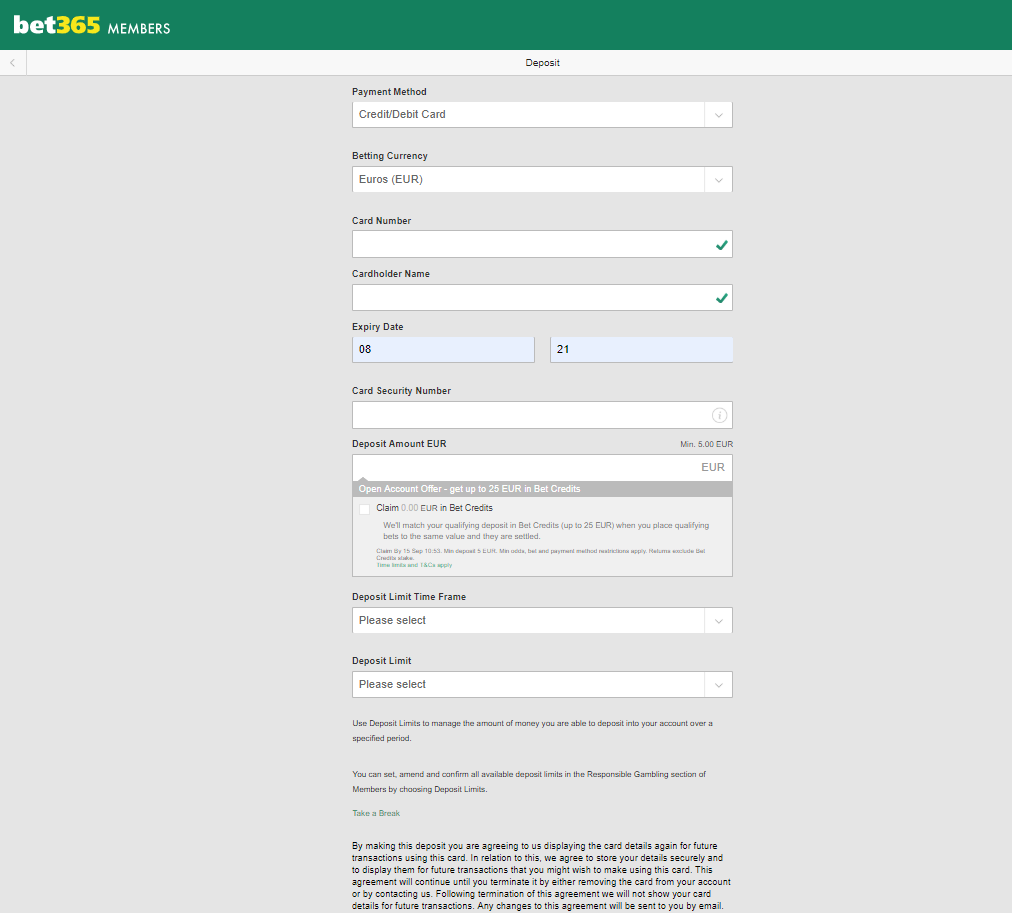 bet365 потребни податоци за депозит на средства